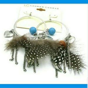 Turquoise ~ Boho Feather Earrings